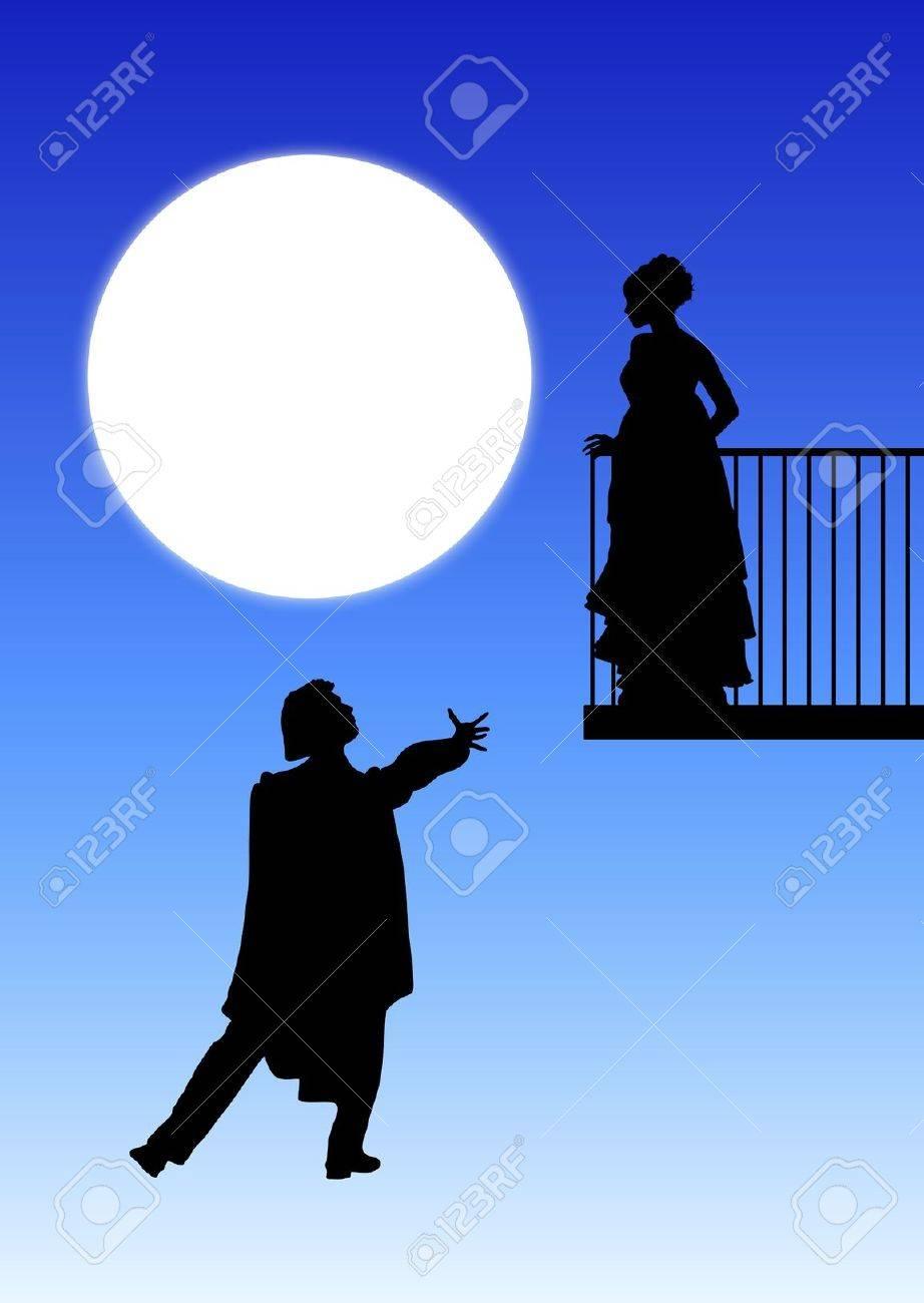 silhouette of romeo and juliet balcony scene stock photo picture silhouette of romeo and juliet balcony scene stock photo 3925219