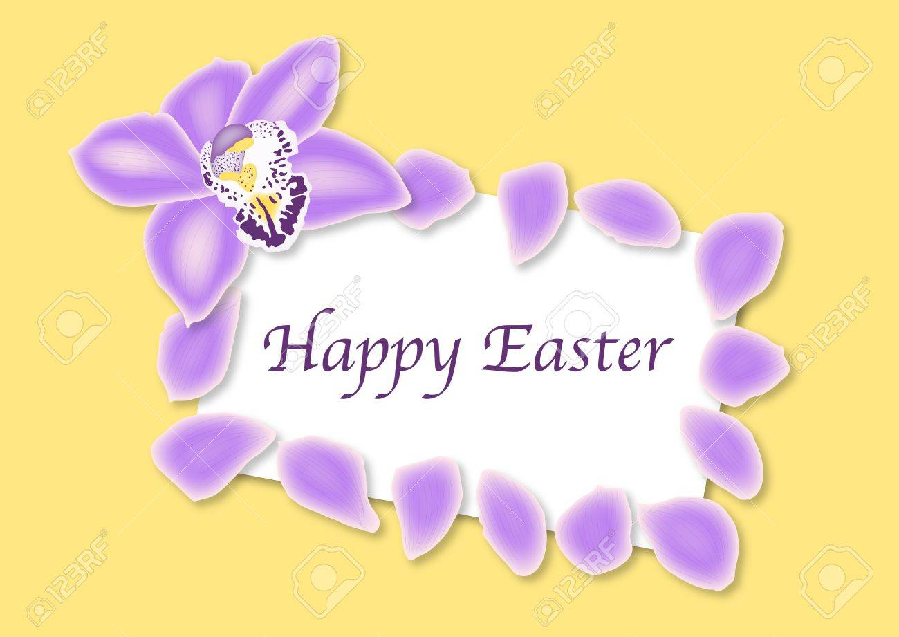 Illustration of Happy Easter card bordered by orchid flower and petals Stock Illustration - 9295960