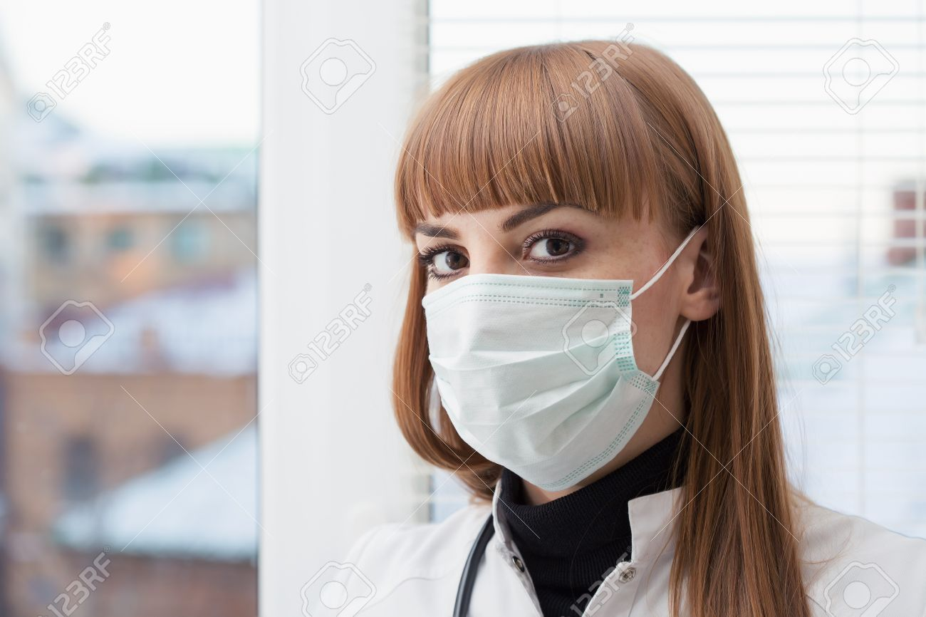 Wearing Beautiful Surgical Doctor Mask Female