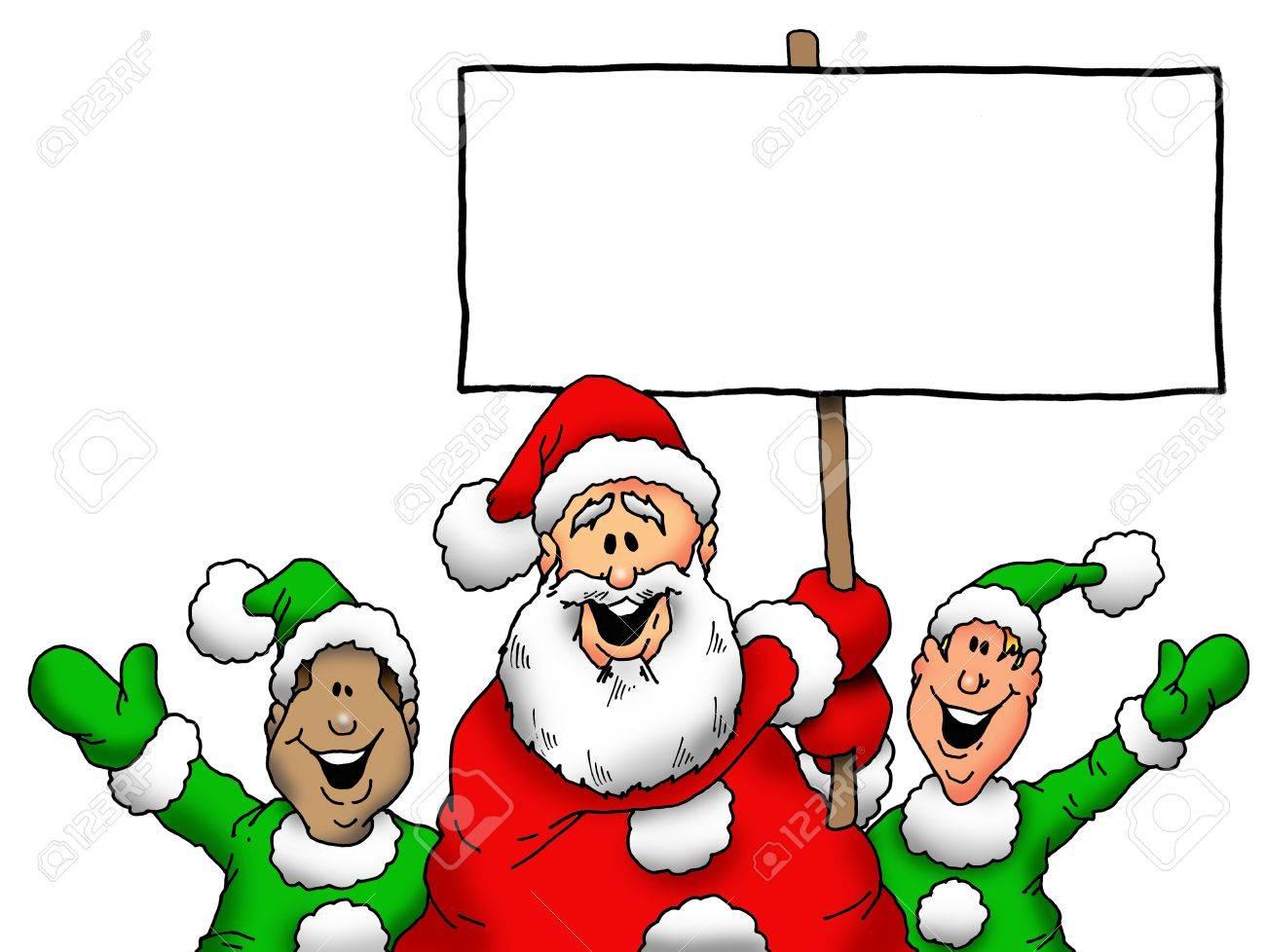 Père Noël Et Ses Lutins With Blank Sign
