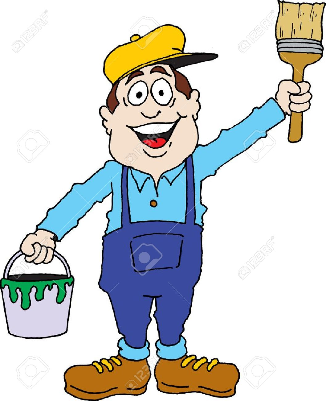 Cartoon image of a painter ready for work. Stock Vector - 19354448