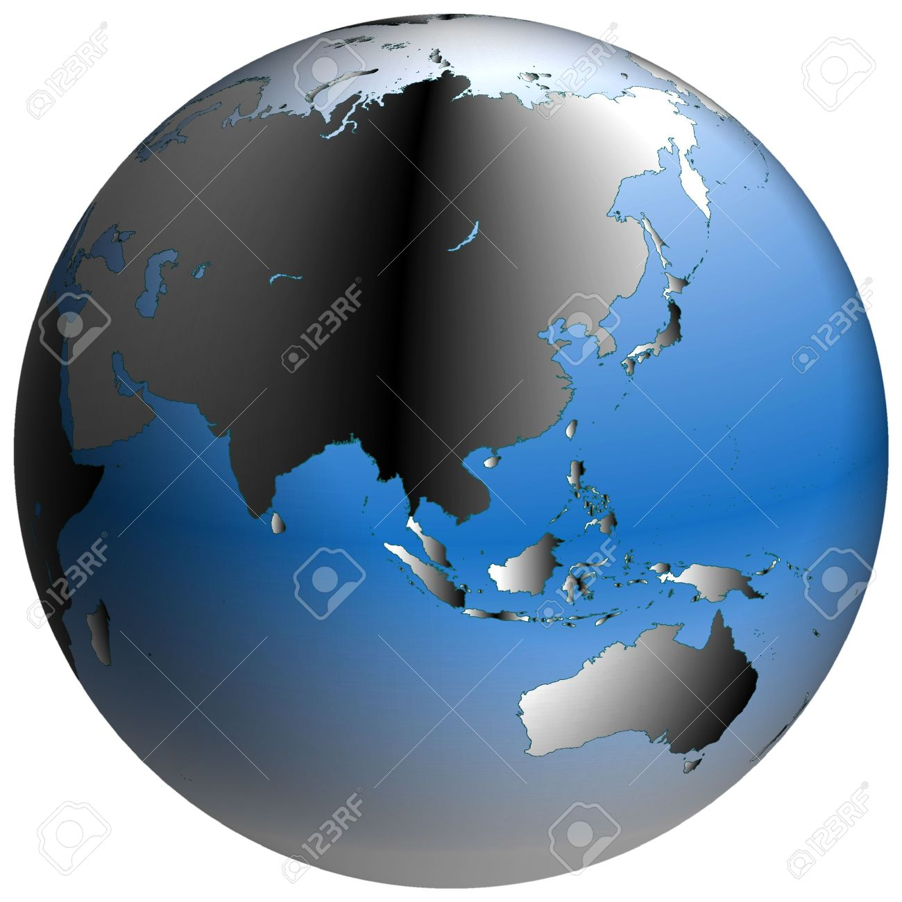 Spherical World Map.Highly Detailed World Map In Spherical Co Ordinates With Asia