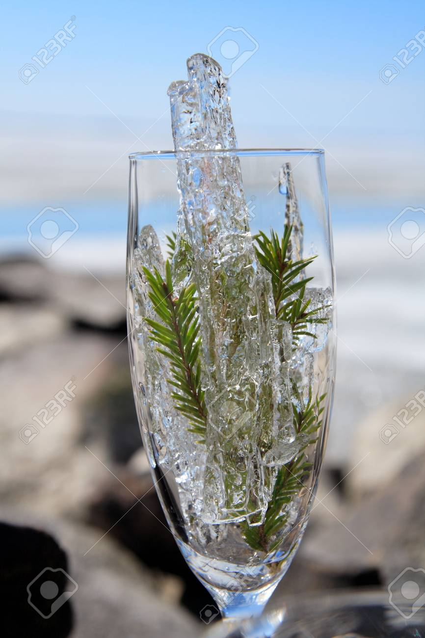 Glasses with ice on the edge of a frozen lake Stock Photo - 3150062