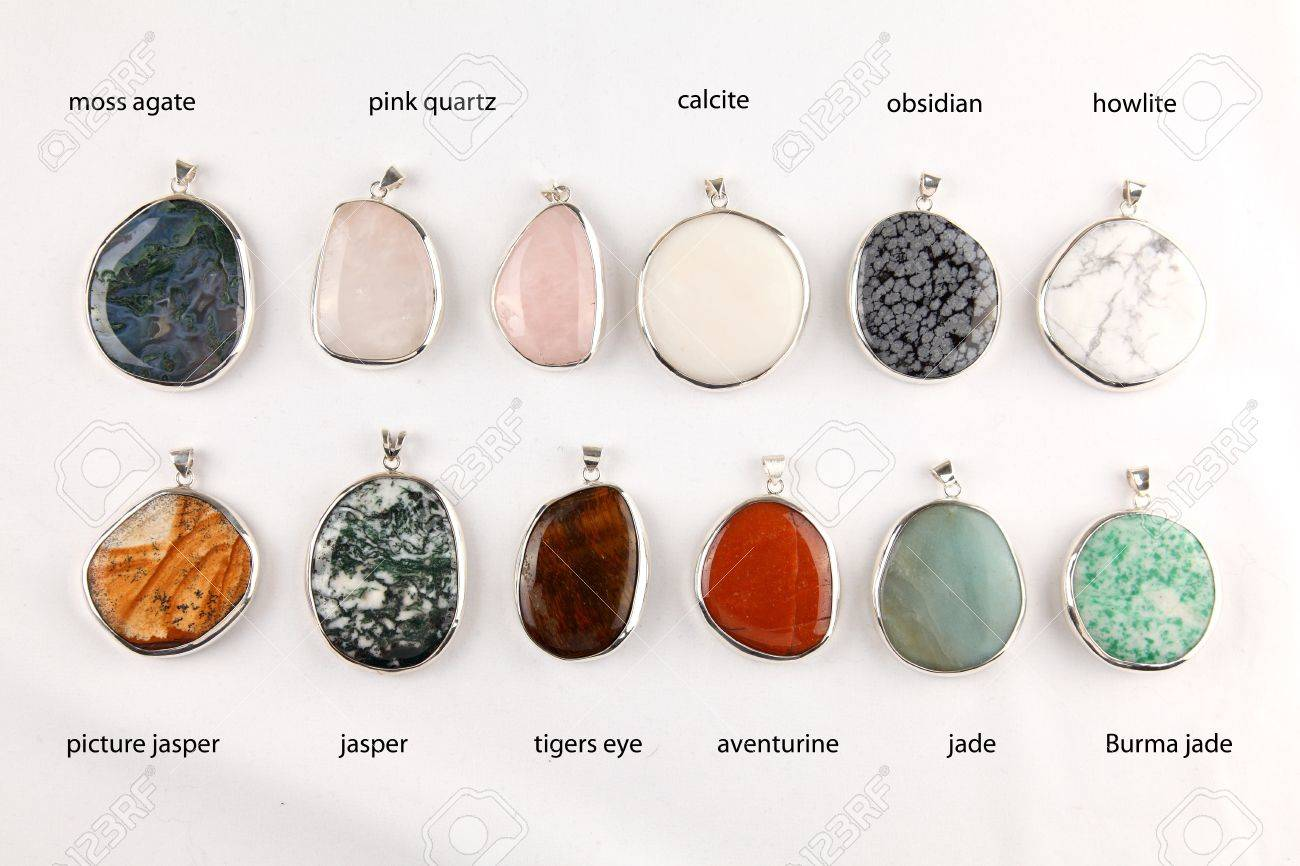Collection of colorful different gemstone pendants with sterling collection of colorful different gemstone pendants with sterling silver stock photo 12210867 aloadofball Image collections