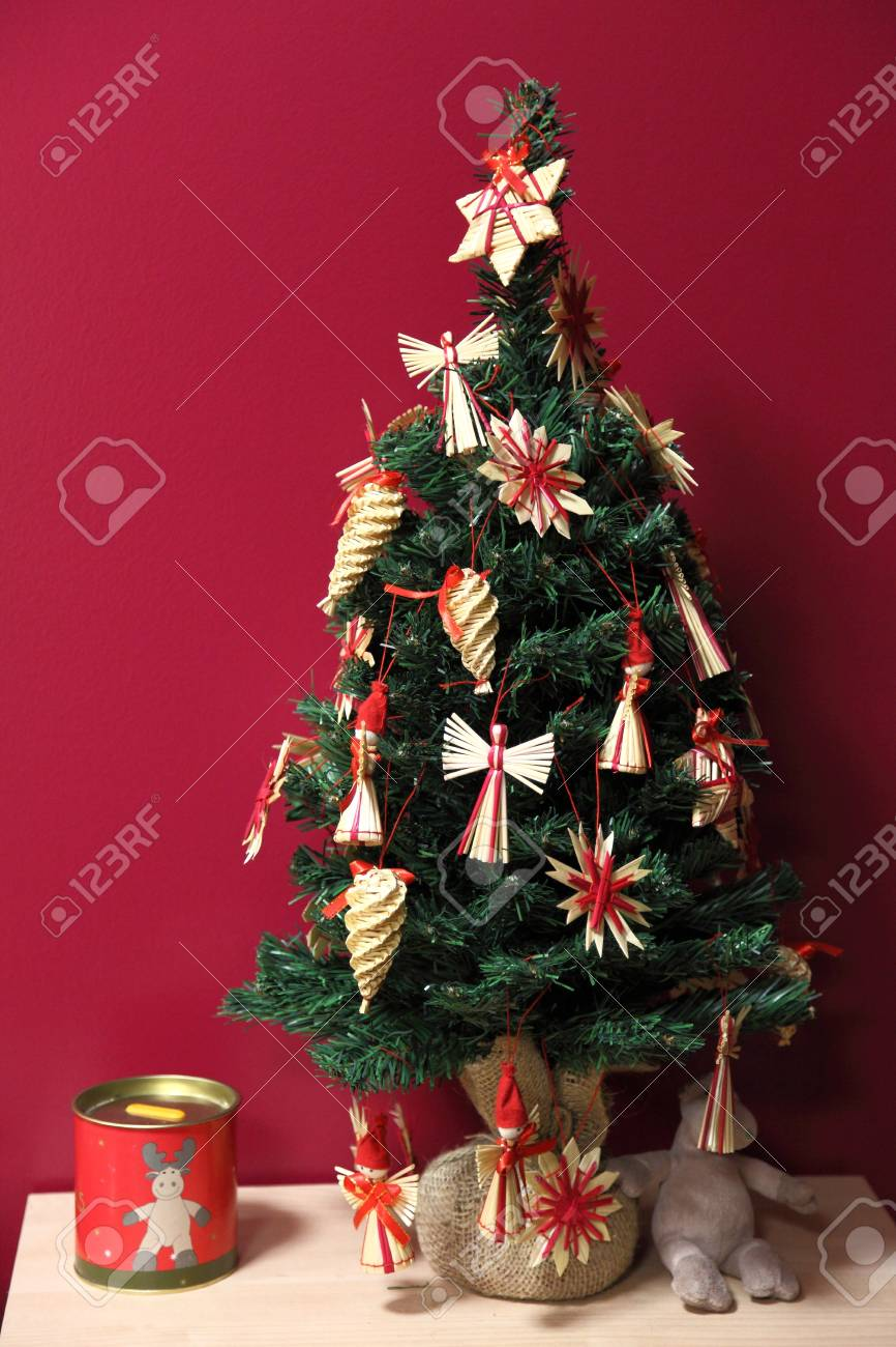 Small Christmas Tree With Traditional Finnish Raffia Decorations Stock Photo Picture And Royalty Free Image Image 17235914