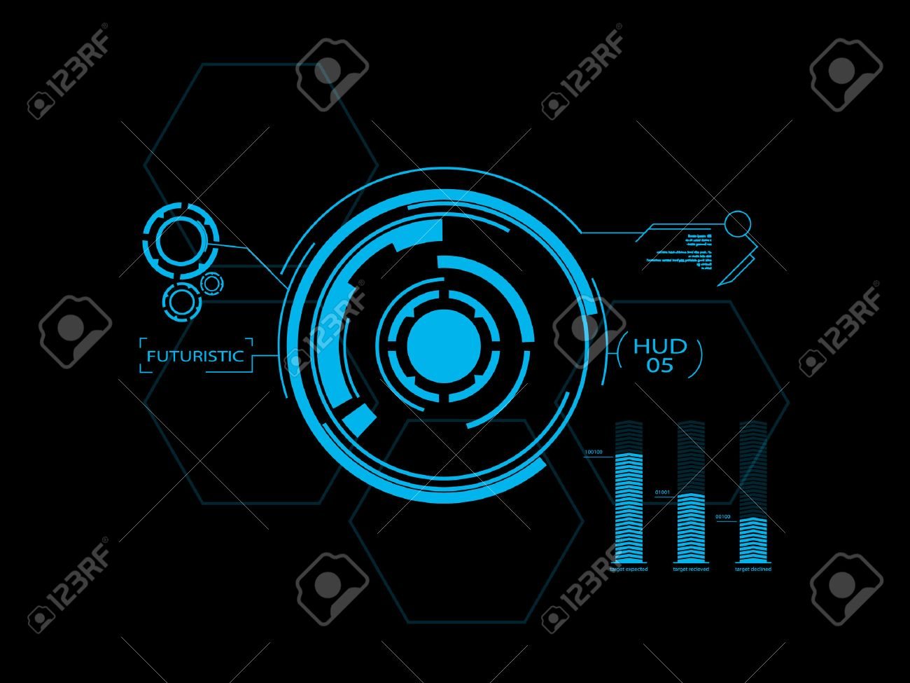 Futuristic blue virtual graphic touch user interface HUD - 25658116