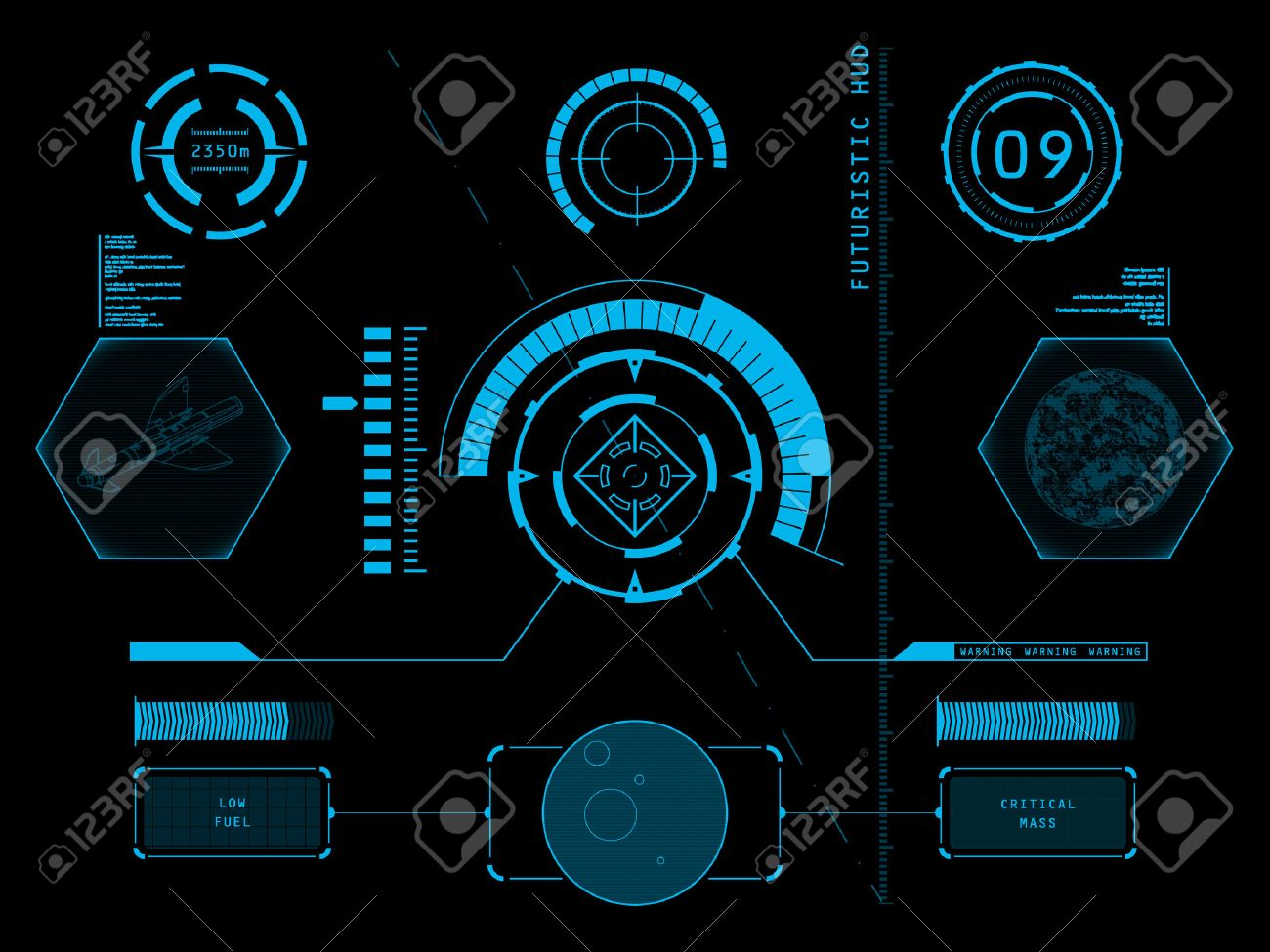 Futuristic blue virtual graphic touch user interface HUD - 27438973