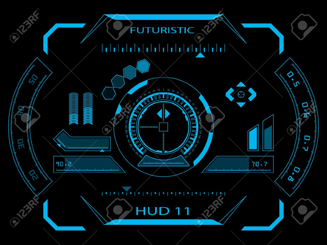 Futuristic blue virtual graphic touch user interface HUD - 27439126