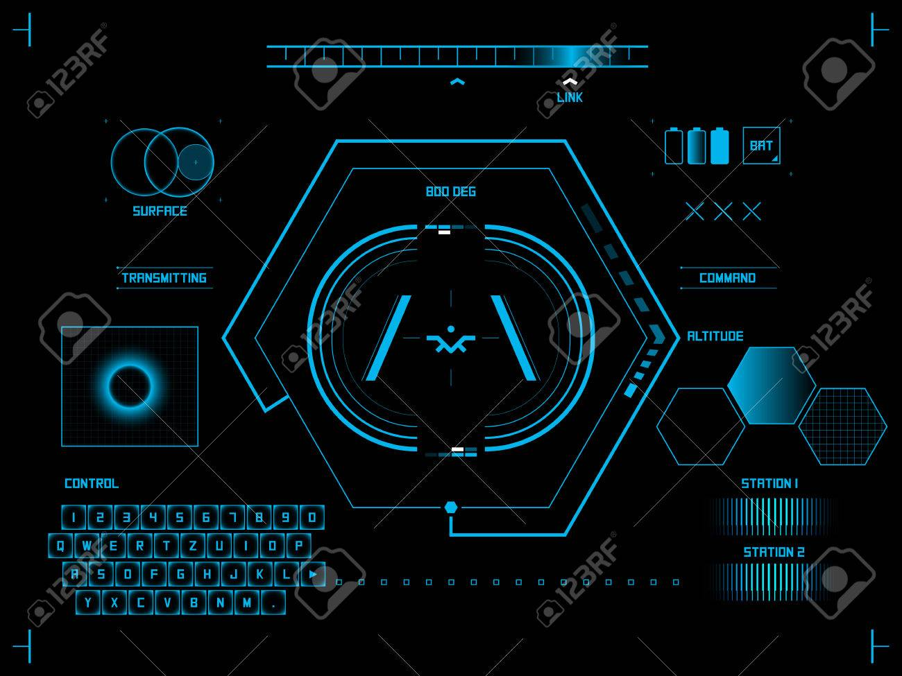 Futuristic blue virtual graphic touch user interface HUD - 27440071