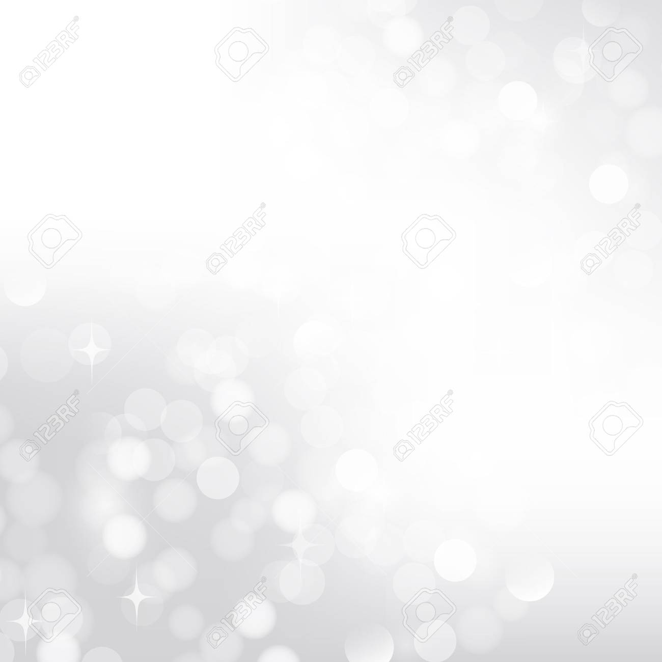Silver bokeh background lights for postcard - 27449500