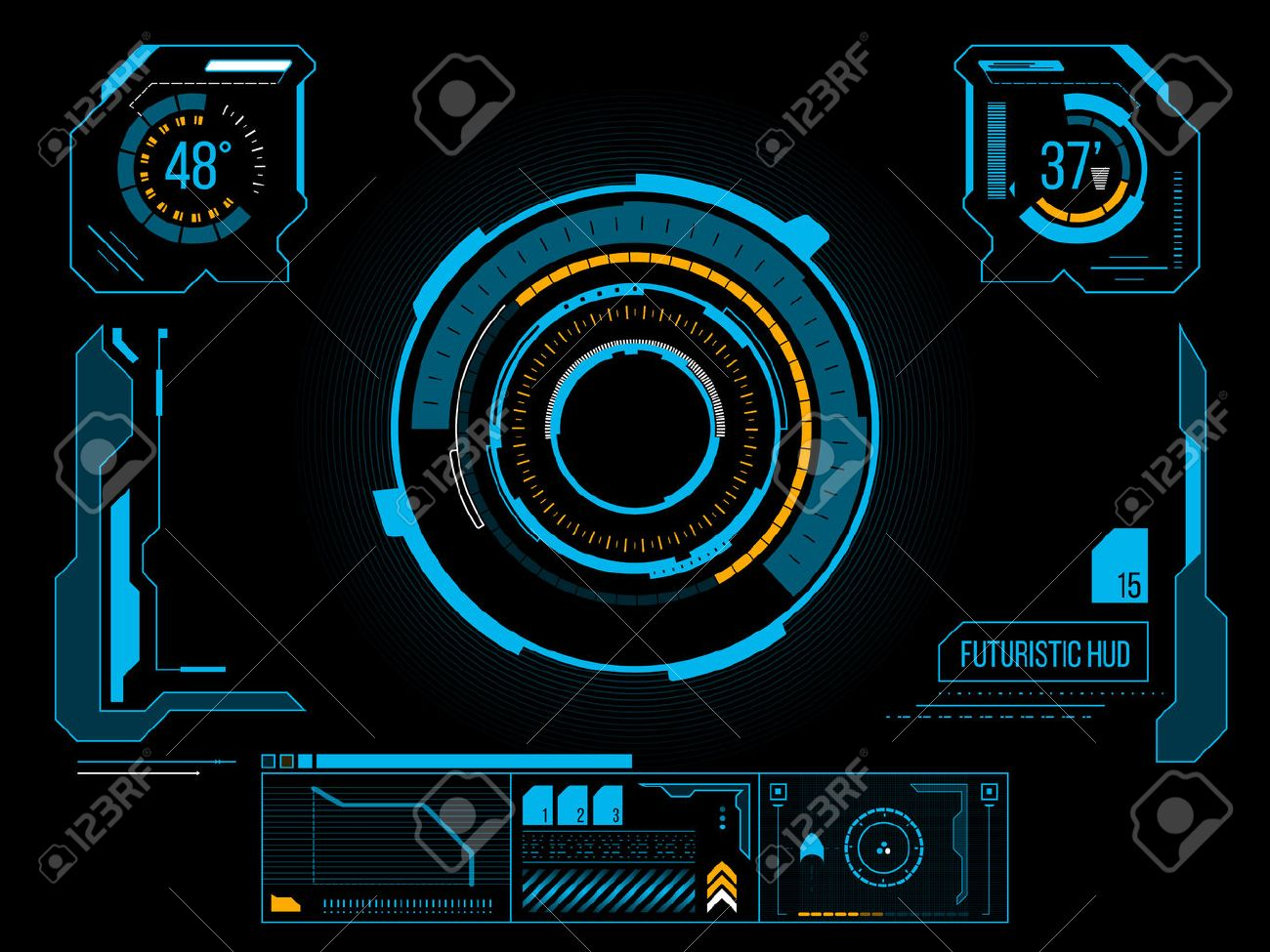 Futuristic blue virtual graphic touch user interface HUD - 28512874