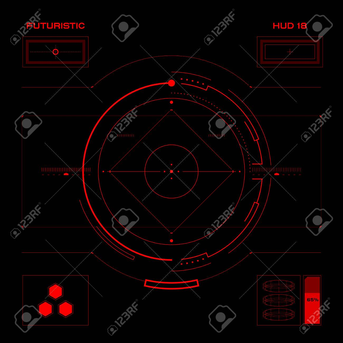 Futuristic blue virtual graphic touch user interface HUD - 30865163