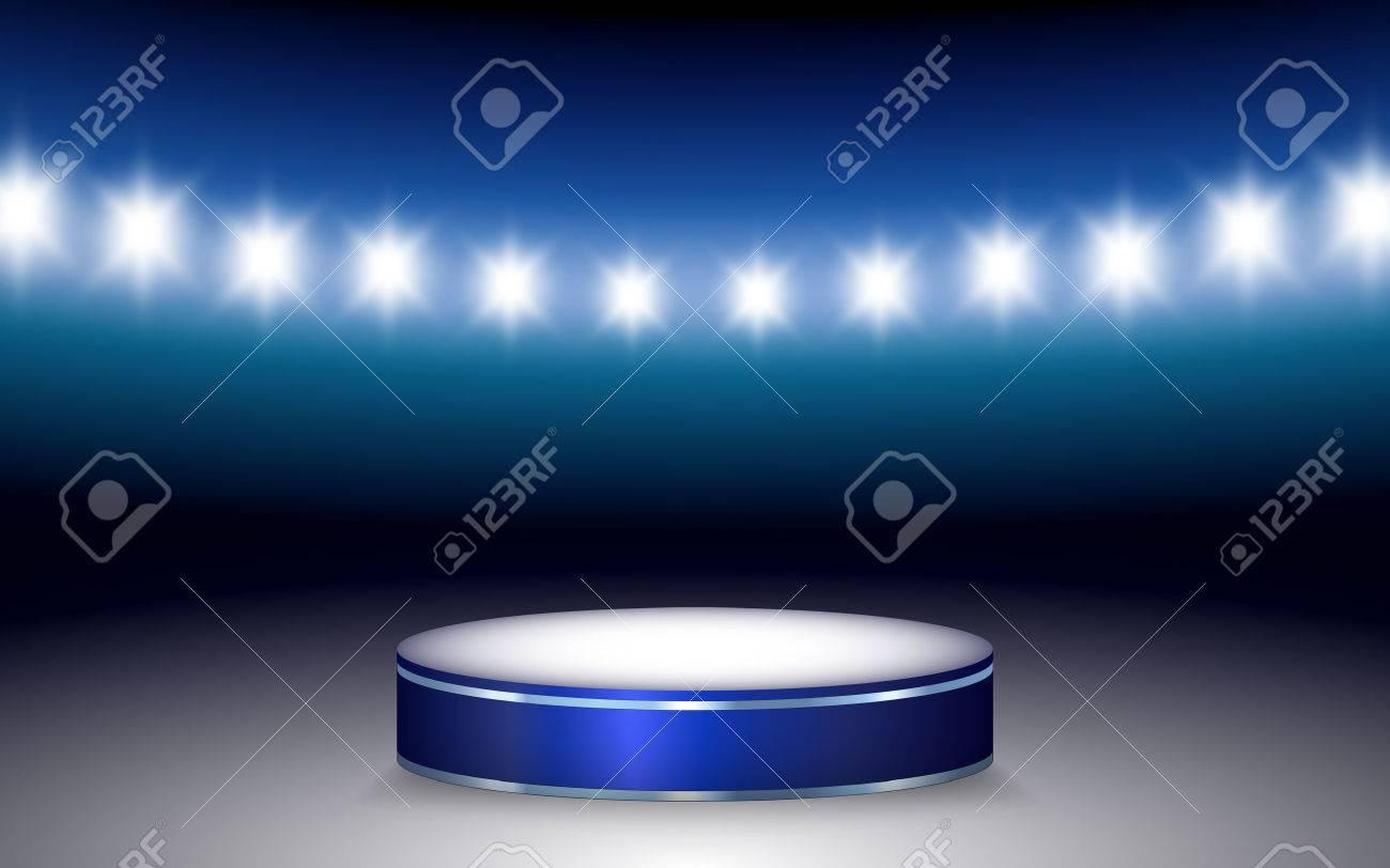 Vector illustration of Ramp with illuminated podium and stadium lights - 32752801