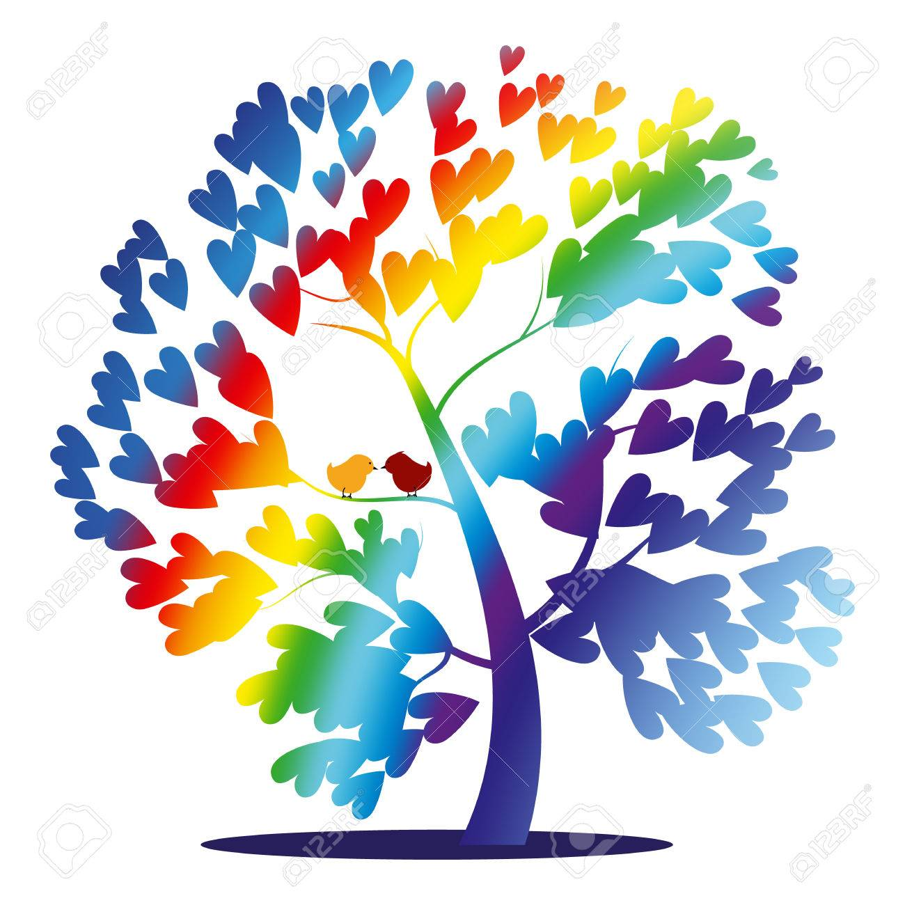 Vector rainbow tree with birds and heart shaped leaves - 33833760