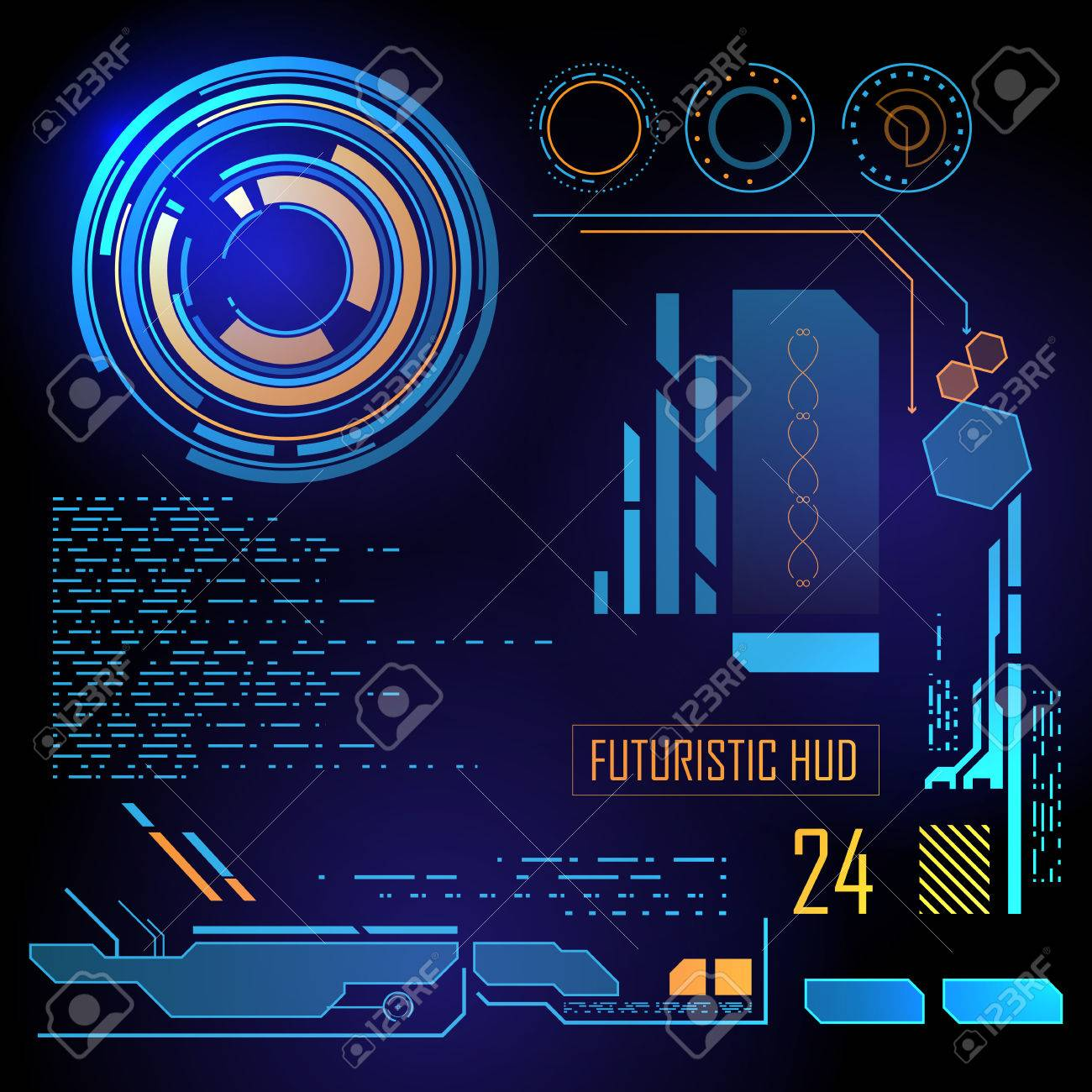 Futuristic blue virtual graphic touch user interface HUD - 34008231