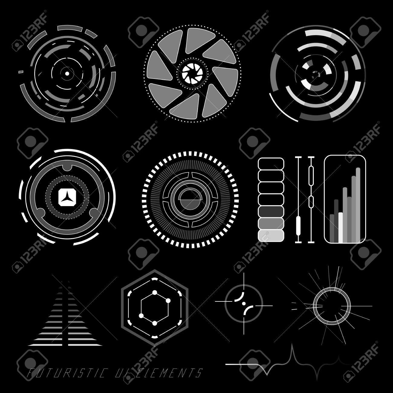 Futuristic sci-fi virtual touch user interface HUD elements - 35320290