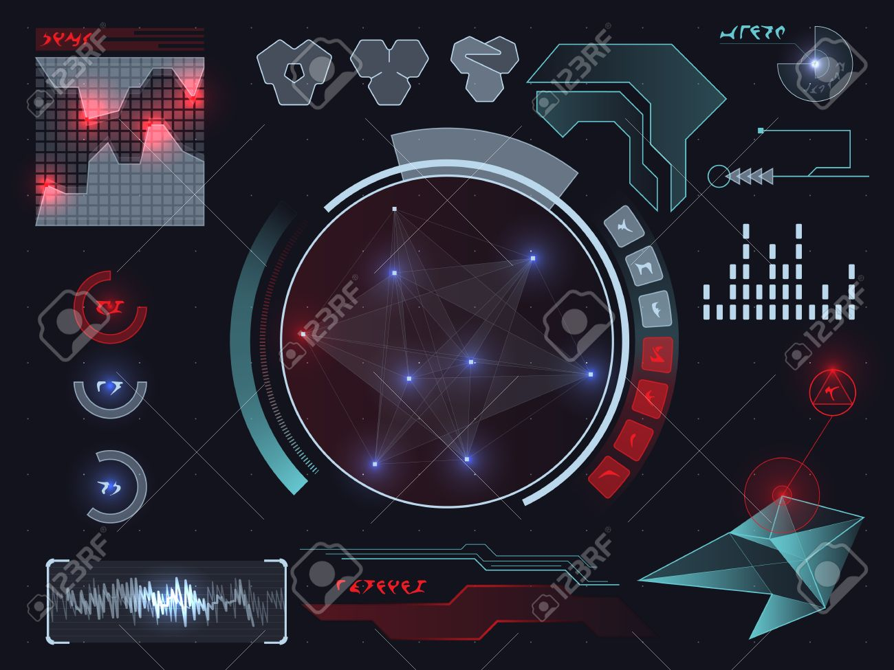 Futuristic sci-fi virtual touch user interface HUD elements - 37104156