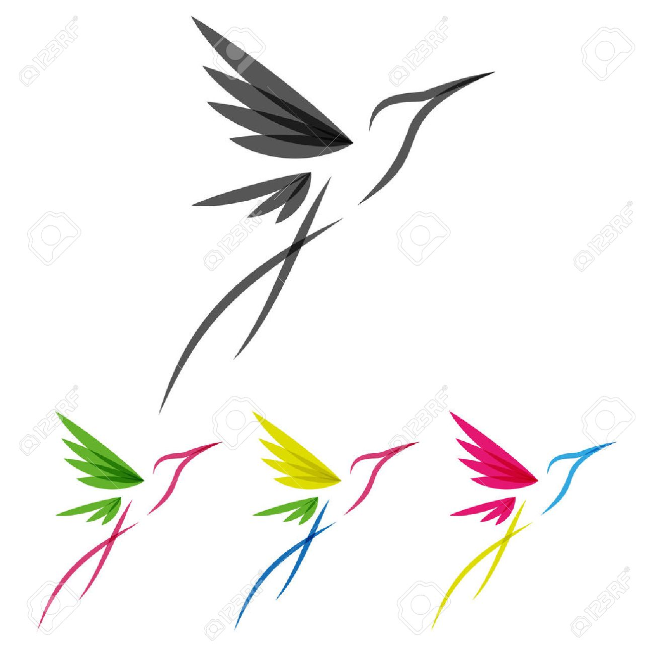 Vector Colored Stylized Tropical Hummingbirds Template for Icon Design - 38081664