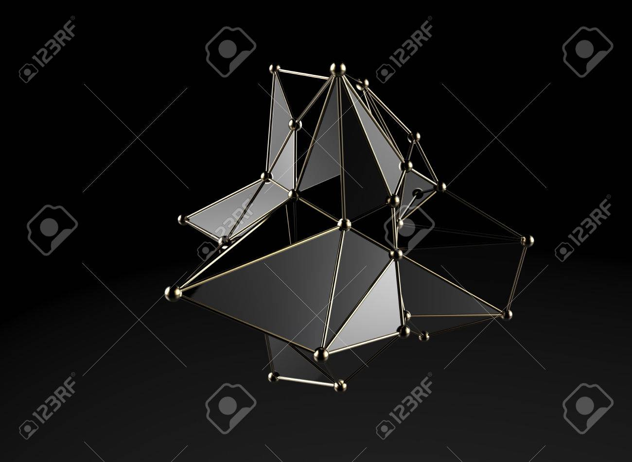 Futuristic digital abstract plexus style 3d molecule model - 40970004