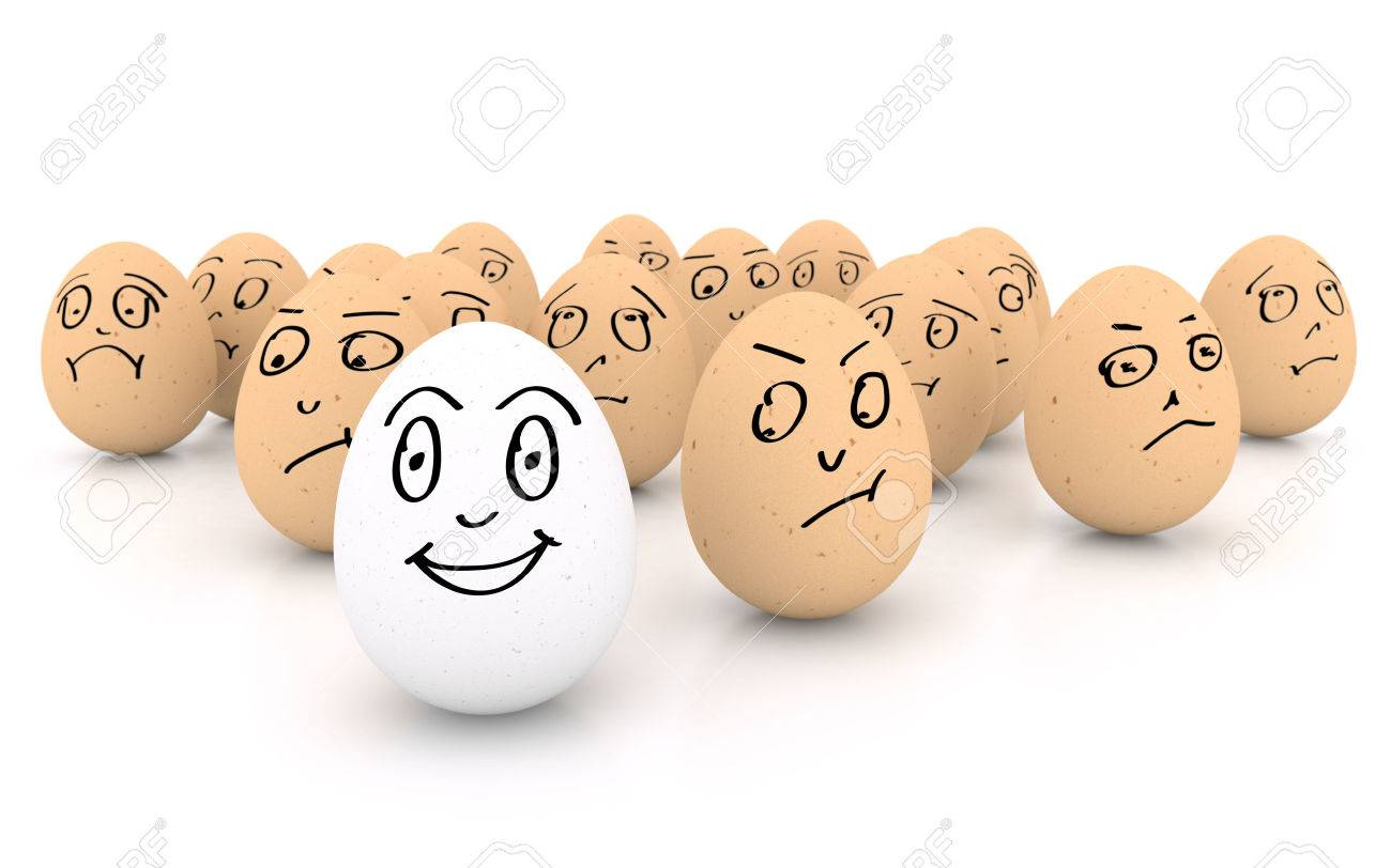 One happy smiling egg amongst sad, angry and envious crowd of eggs isolated on white background - 41087191