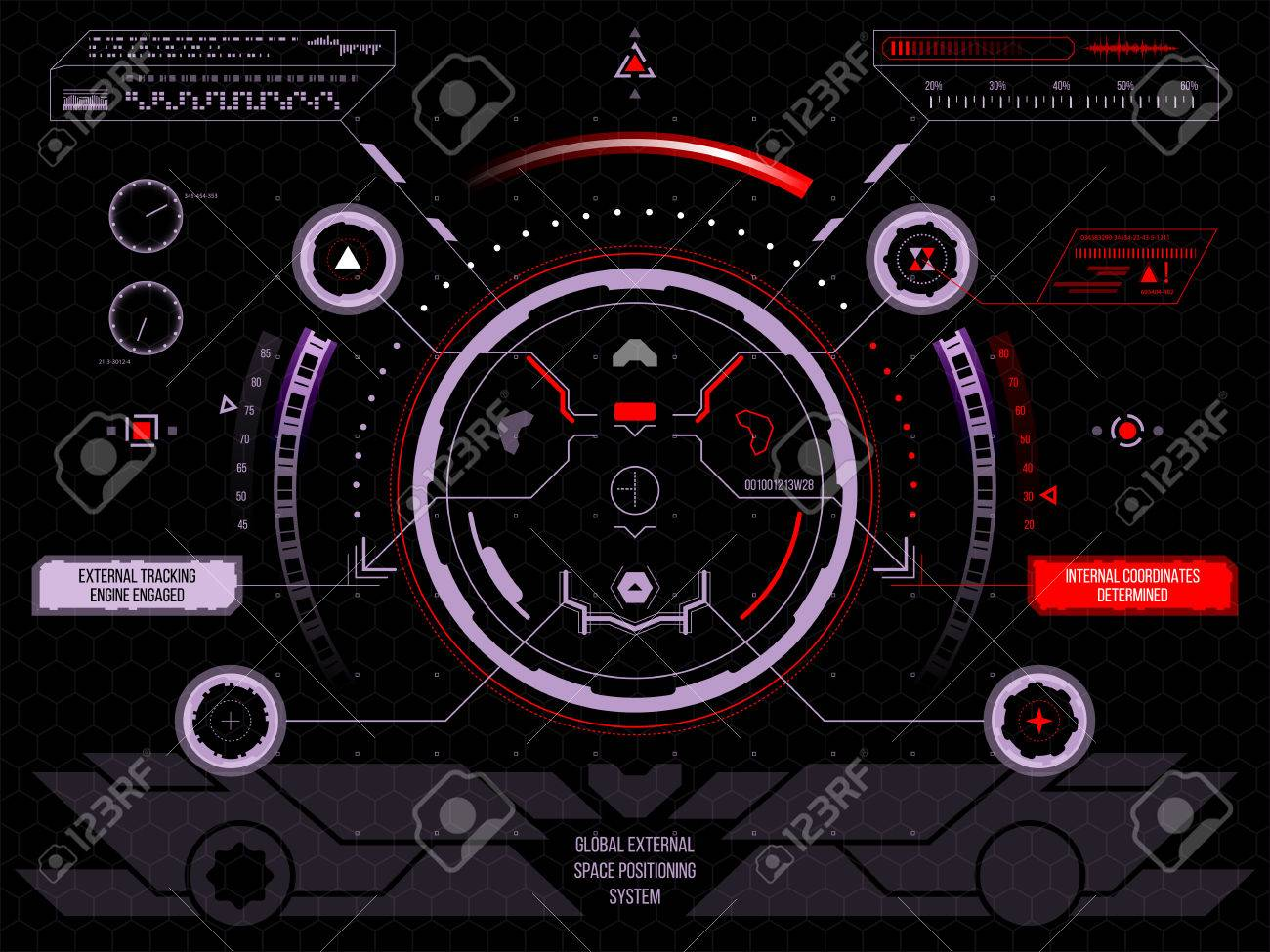 Abstract future, concept vector futuristic blue virtual graphic touch user interface HUD, raster version - 46008541