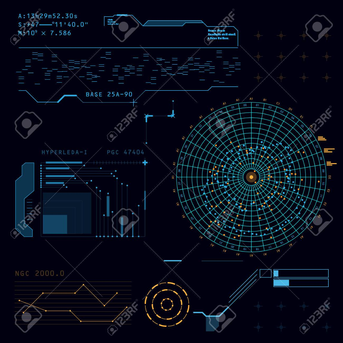 Abstract future, concept vector futuristic blue virtual graphic touch user interface HUD - 47948465