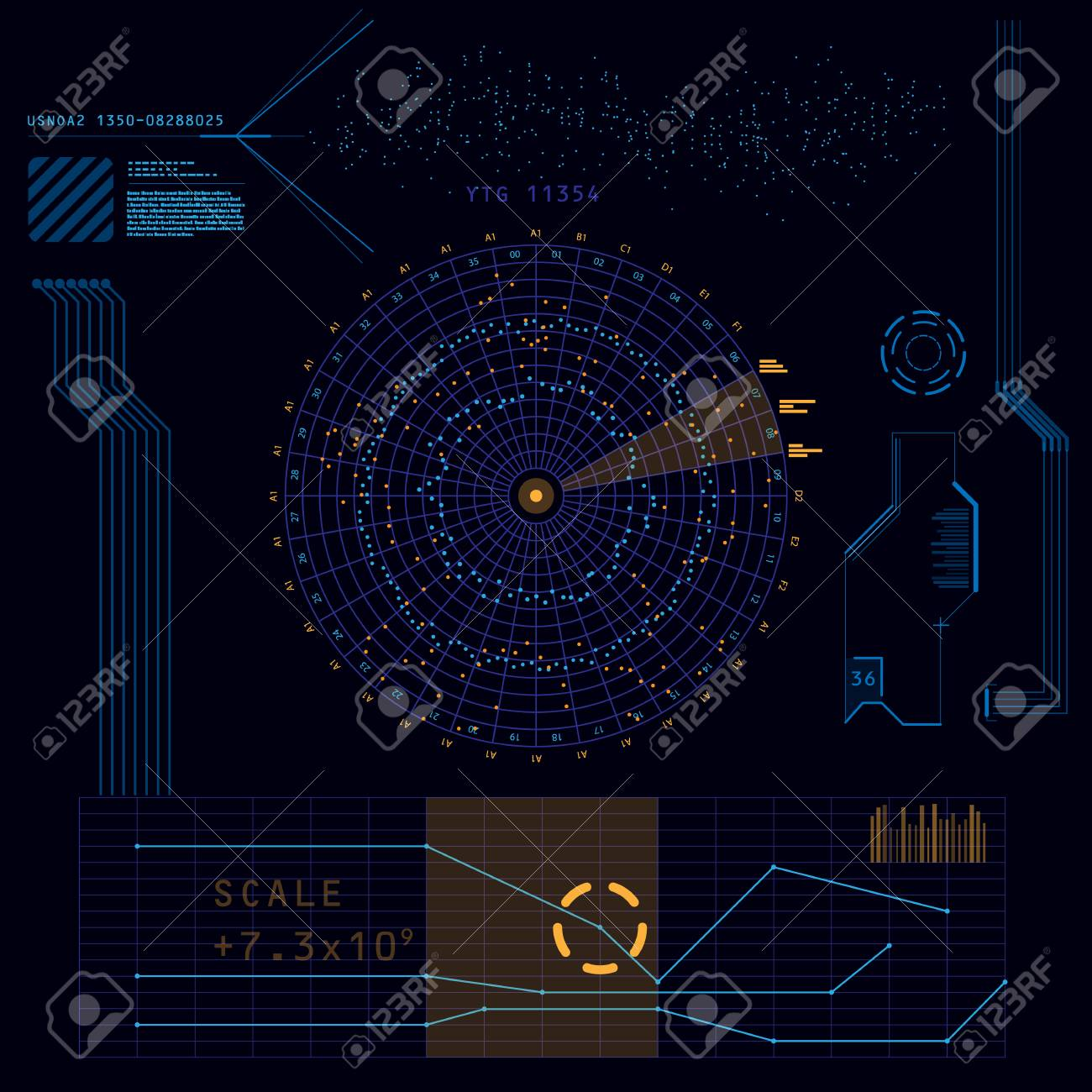 Abstract future, concept vector futuristic blue virtual graphic touch user interface HUD - 47948466
