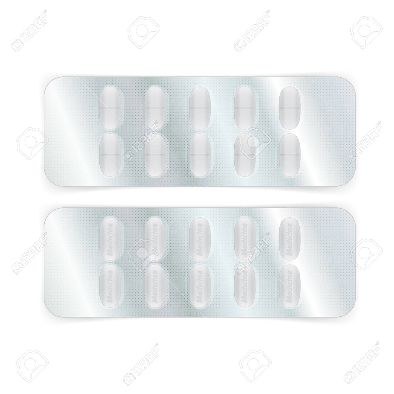 Oval White Pills In A Blister Pack Vector Illustration Royalty Free
