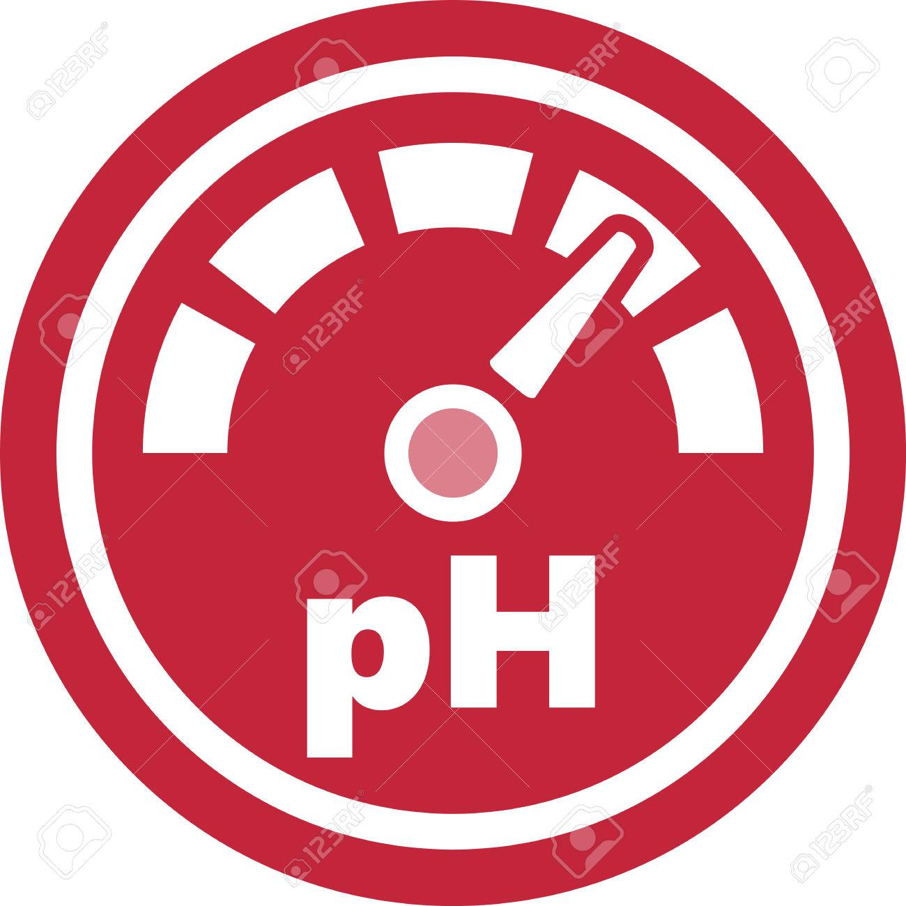 pH increase measurement red round icon - 86025257