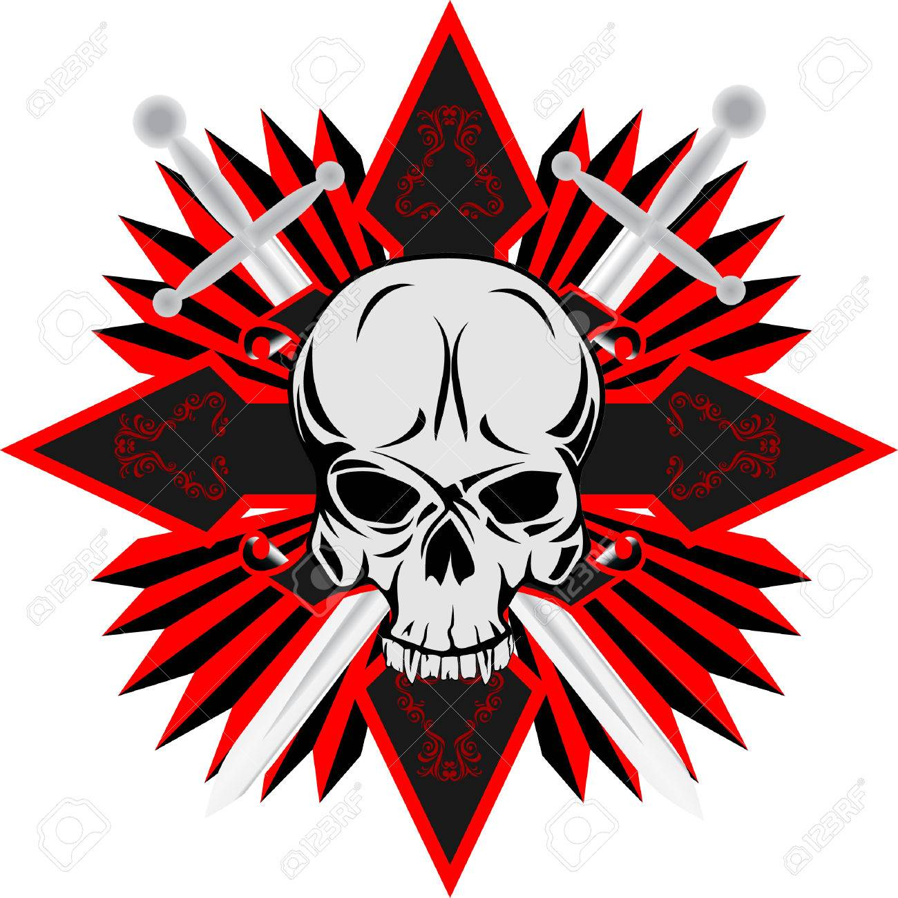 The vector image of human skull with cross Stock Vector - 4875723