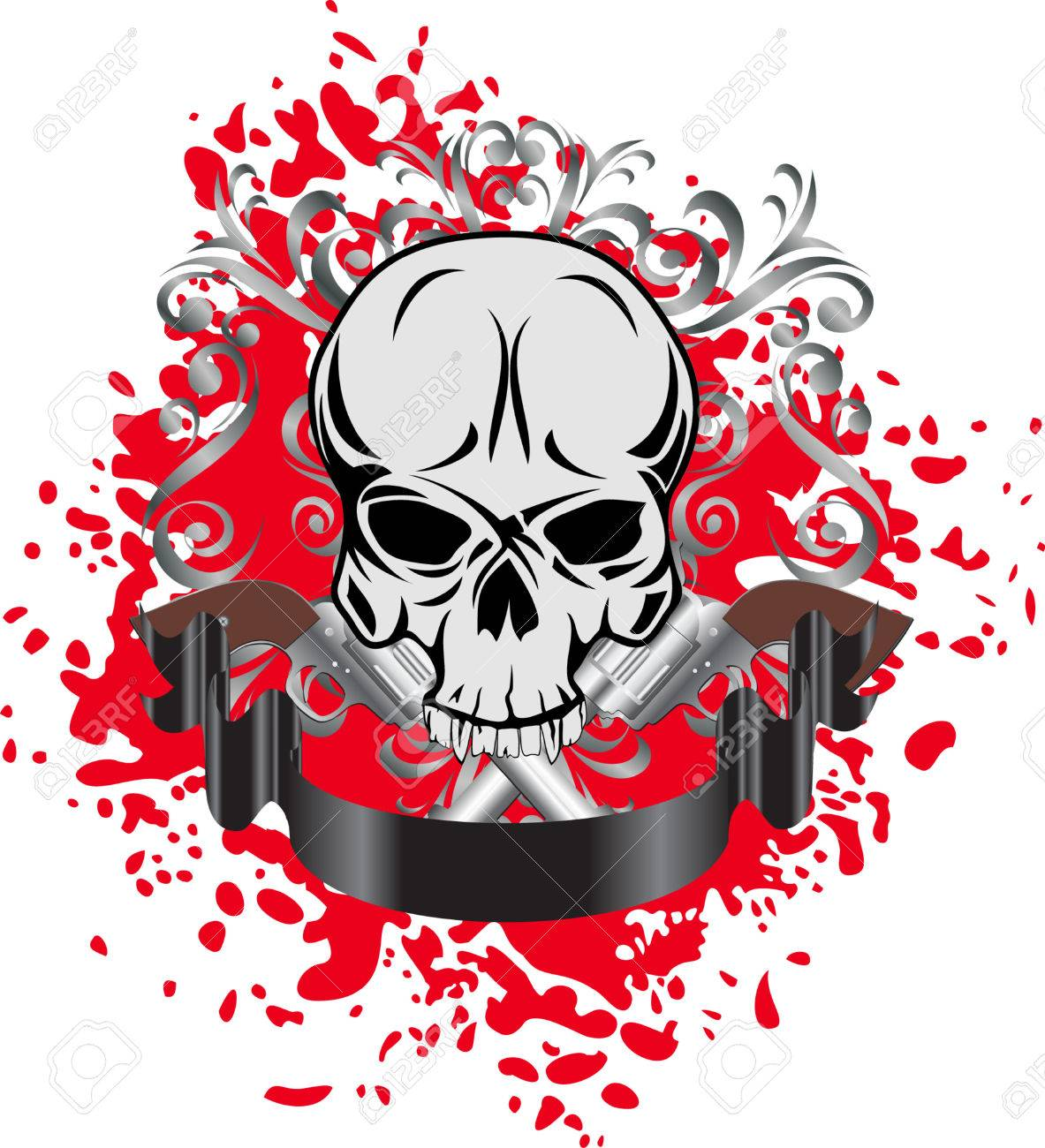 Vector image of skull with two revolvers and patterns Stock Vector - 4875728