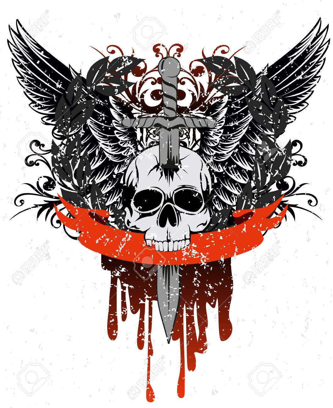 image skull with wings, patterns and ribbon Stock Vector - 8716302