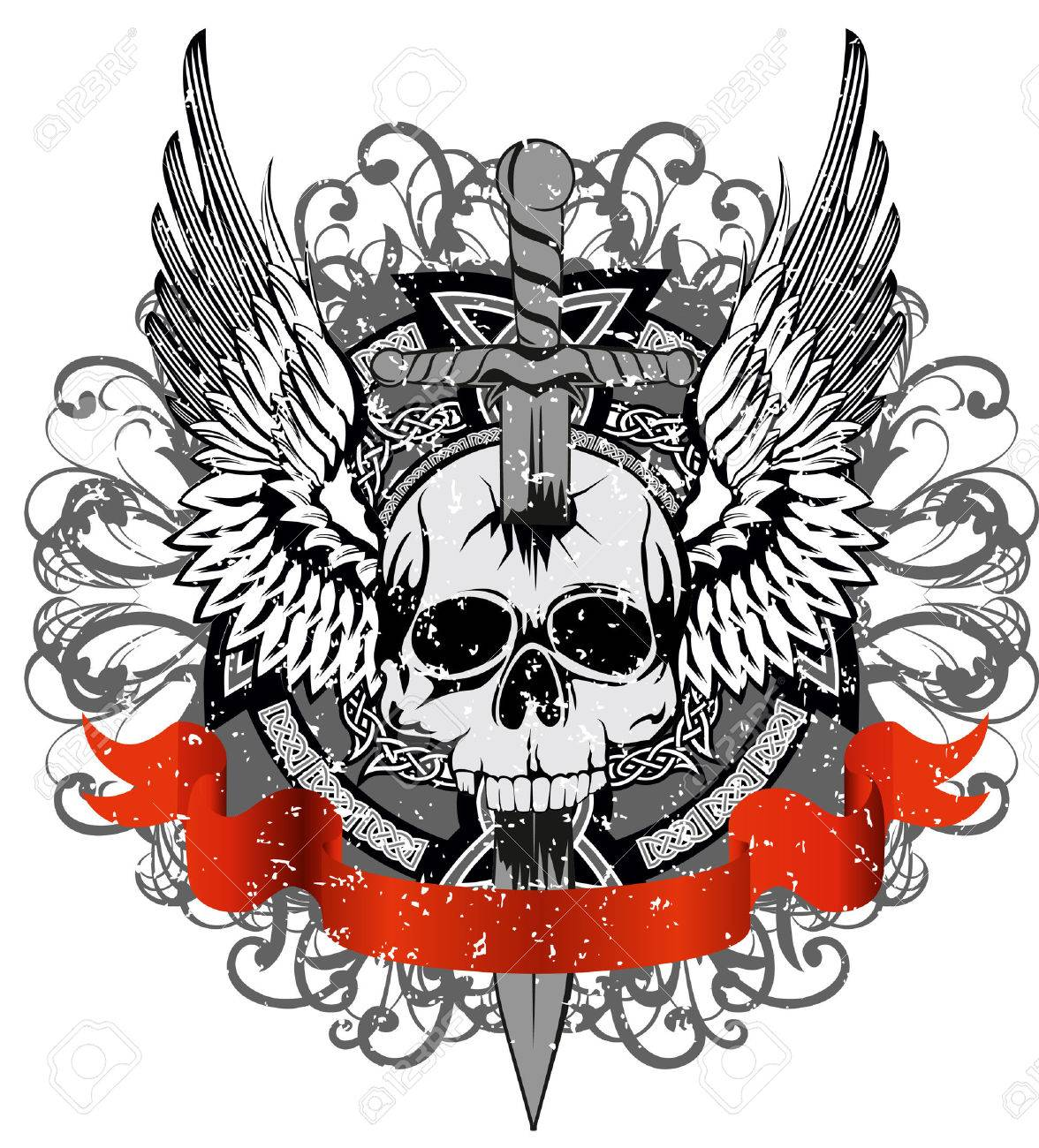 design for T-short skull punched by sword against patterns Stock Vector - 8850498