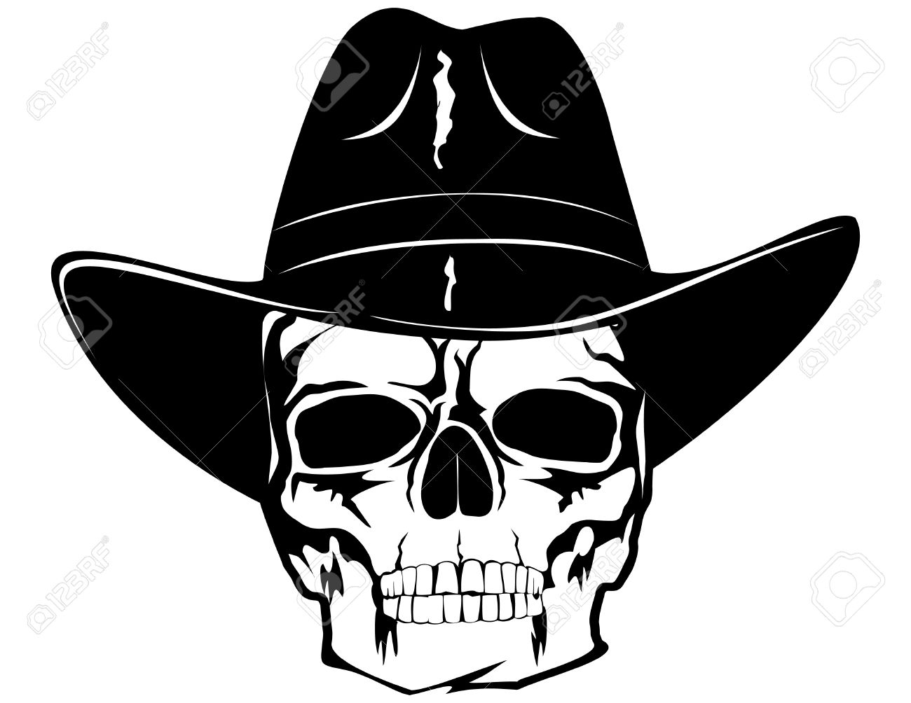Skull With Cowboy Hat Tattoo skull in black cowboy s hat