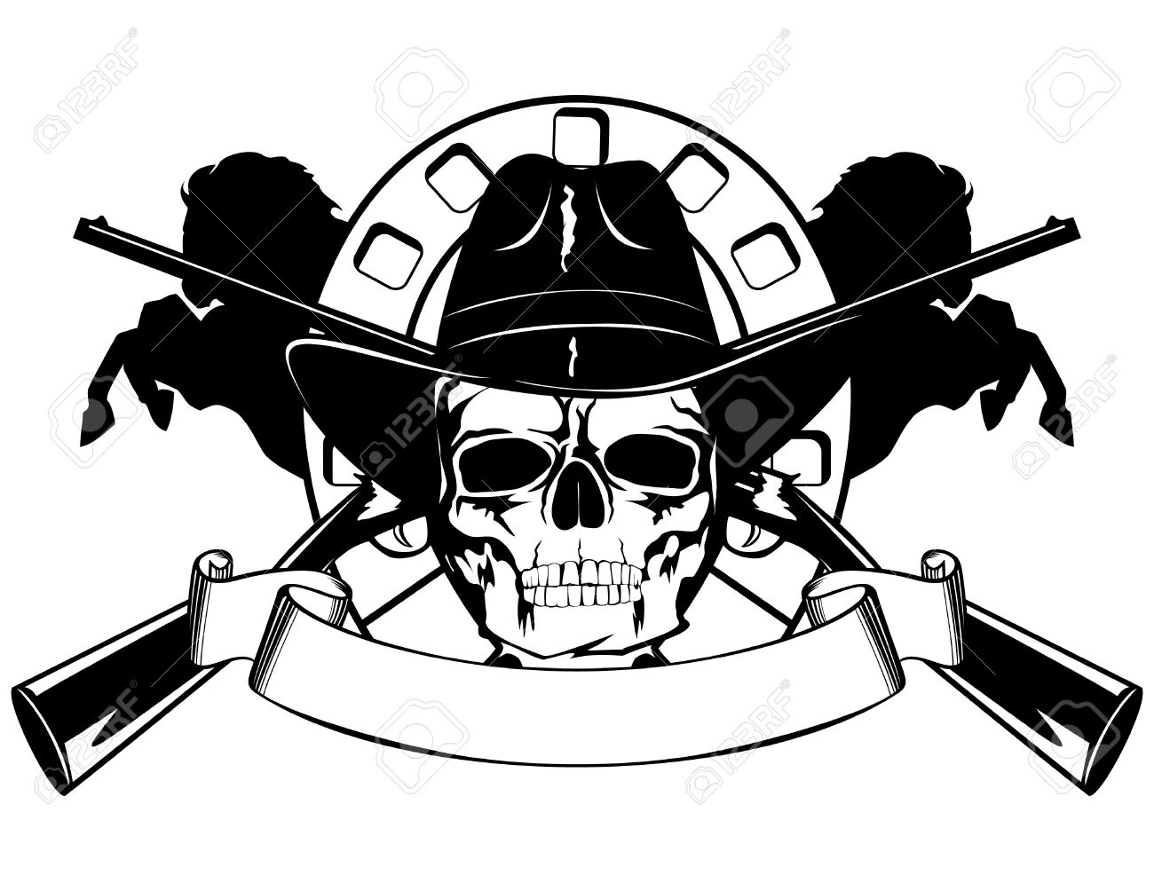 Skull in black hat with the crossed rifles Stock Vector - 9181556