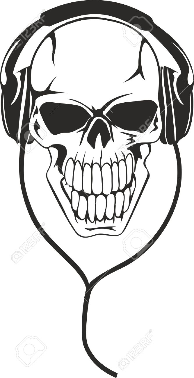 Vector image of  human skull in  stereo ear-phones Stock Vector - 11568768