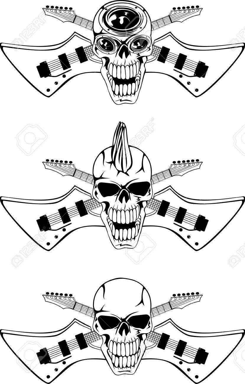 Vector image of a human skull with the crossed guitars Stock Vector - 11568770