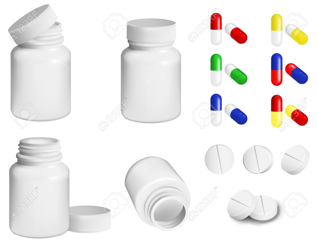 Bottle for medicines and set of various pills and tablets Stock Vector - 11989805