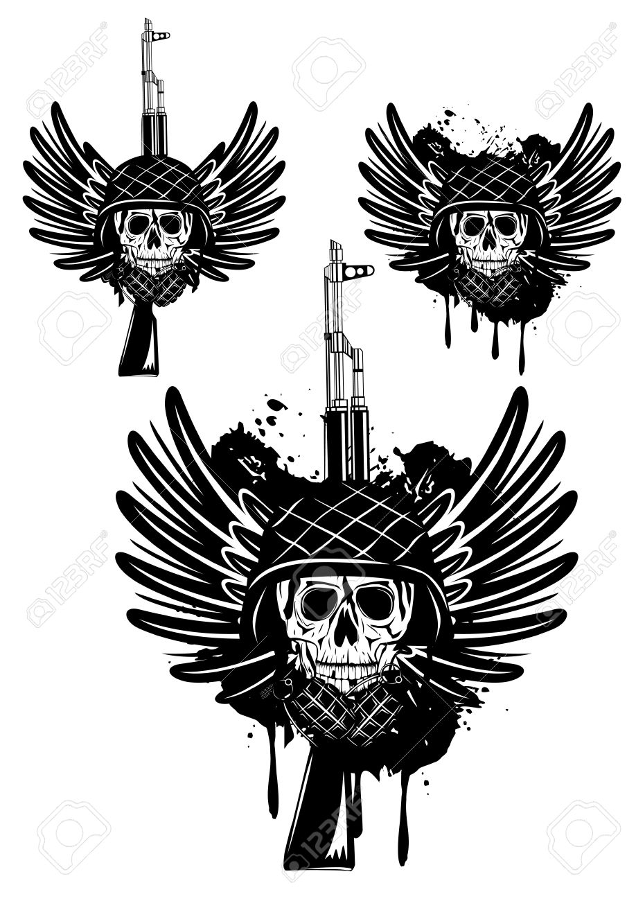image of  skull in an army helmet with  automatic machine and grenade Stock Vector - 12889358