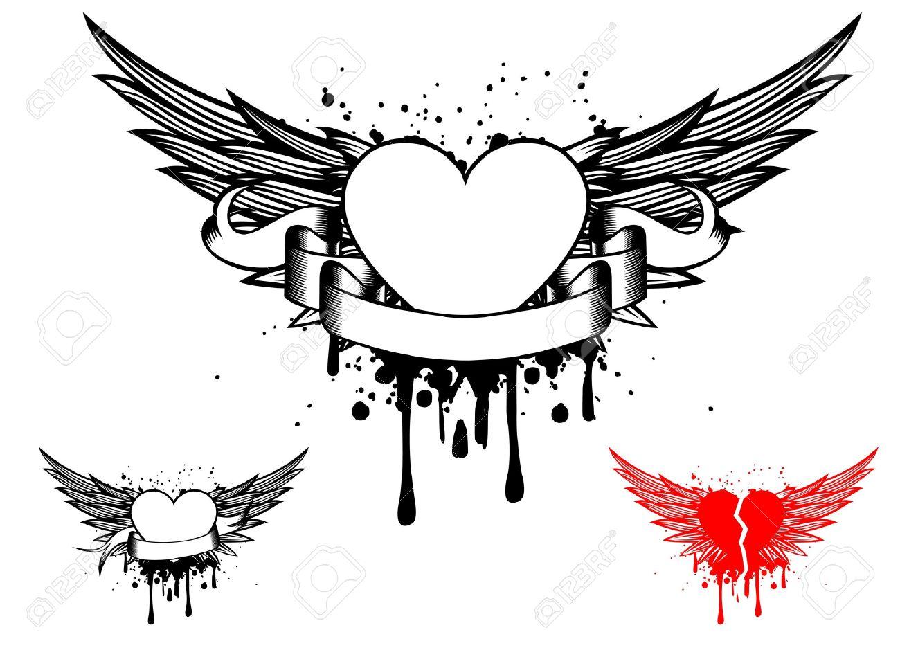 Тату ангел с сердцем и крыльями