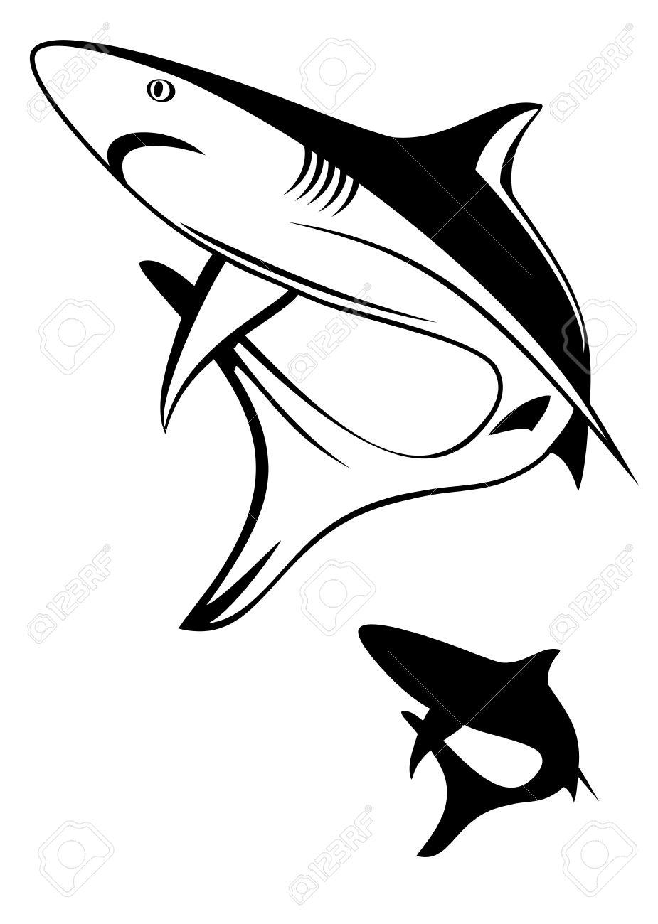 Vector illustration black shark and silhouette Stock Vector - 12963375