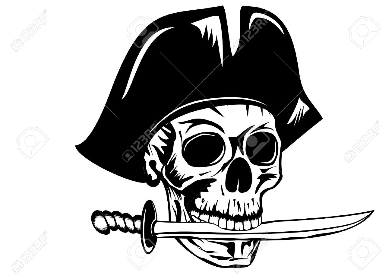 Pirate Hat Drawing Vecctor image pirate with