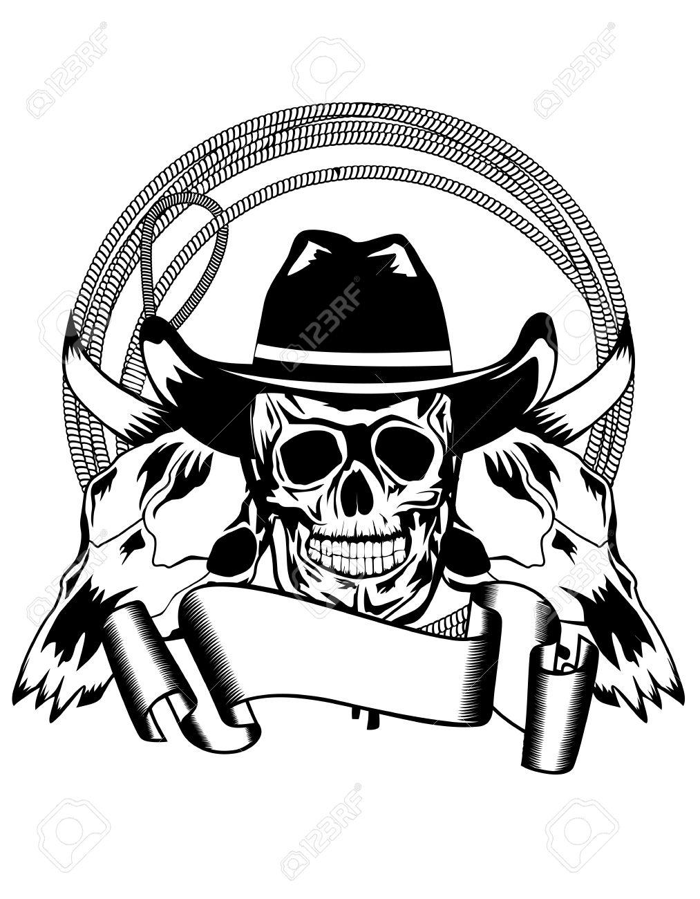 vector illustration cowboy and skull bull royalty free cliparts