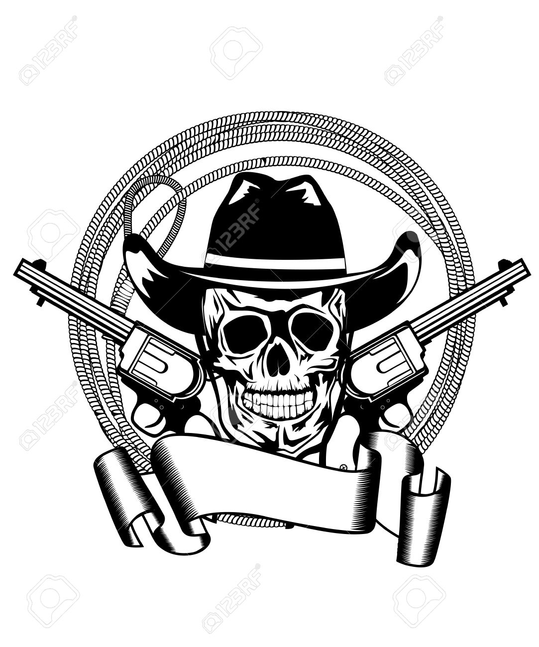 Western Pistols Drawing Vector Illustration Cowboy And