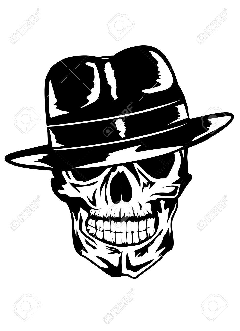 Vector image of  skull in hat - gangster Stock Vector - 13186016