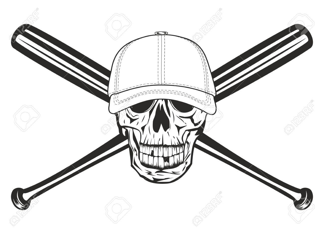 the image skull in baseball cap and crossed bats royalty free rh 123rf com Baseball Bat Clip Art Baseball Bat Clip Art Vector