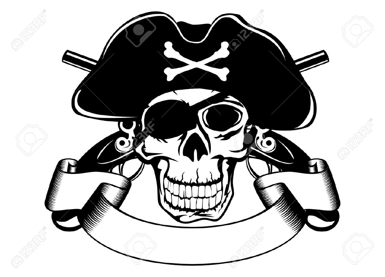 Pirate Hat Drawing The image of piracy skull