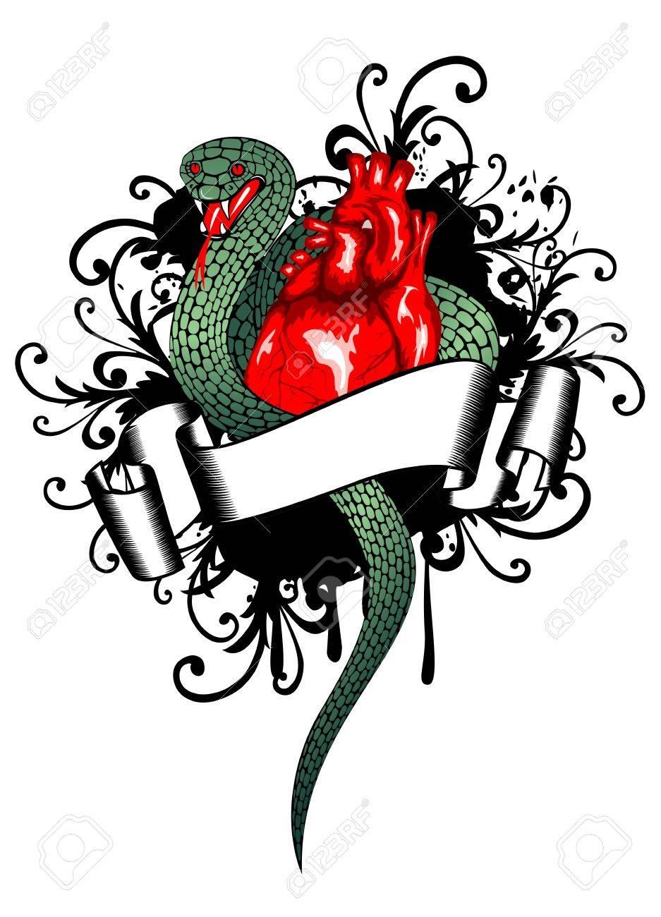 Vector illustration human heart and snake Stock Vector - 14098047
