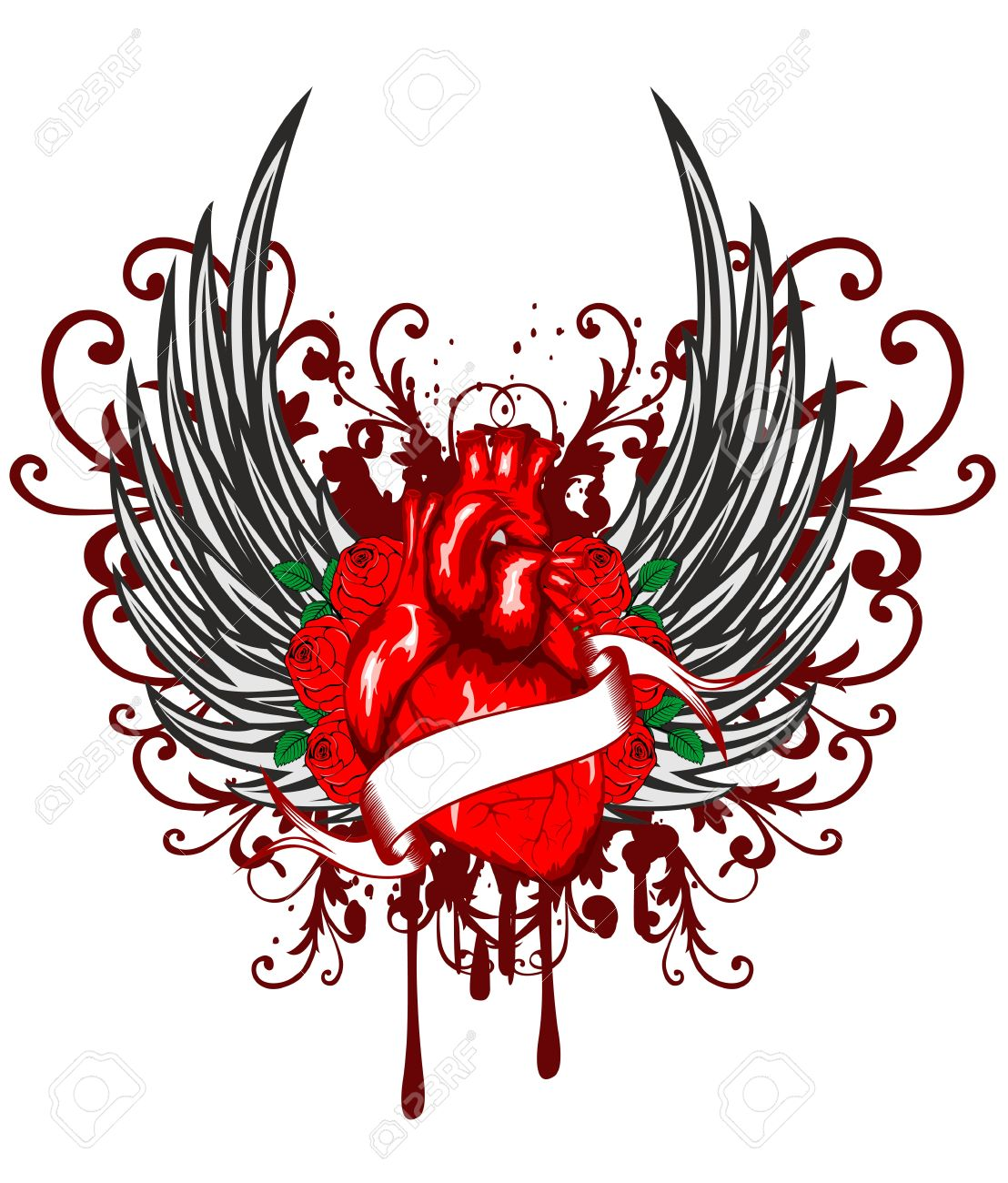 Vector illustration of heart of wings and rose Stock Vector - 14255272