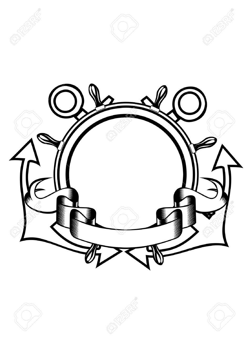 Vector illustration crossed anchors and steering wheel Stock Vector - 14485608